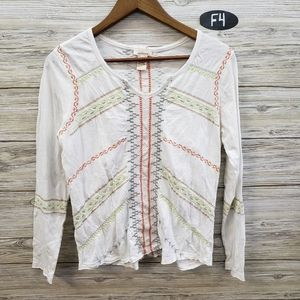Sundance White Embroidered Long Sleeve Top